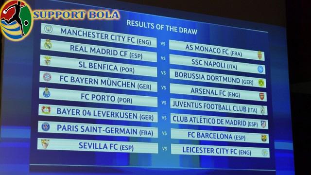 Hasil Drawing Babak 16 Besar Liga Champions Musim 2016/2017