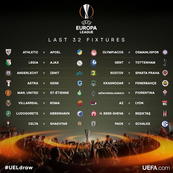 Hasil Drawing Babak 32 Besar Liga Eropa Musim 2016/2017