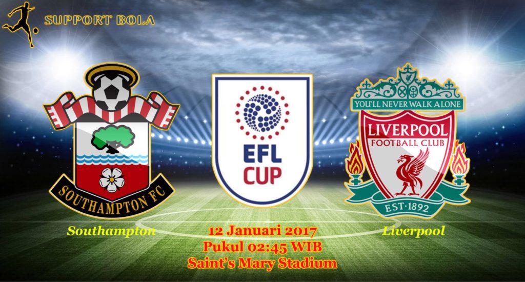 Prediksi Southampton vs Liverpool (EFL CUP) 12 Januari 2017